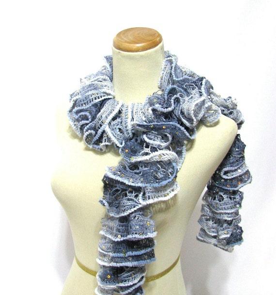 Sale Moody Blue Hand Knit Scarf