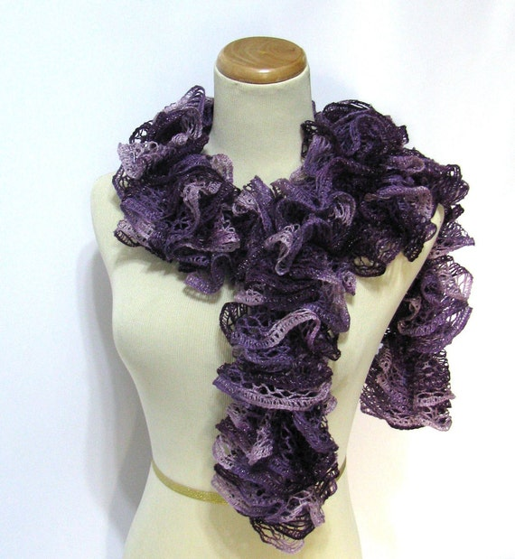 Ruffle Scarf Purple Hand Knit Women Accessories Scarves Handmade Arlenesboutique