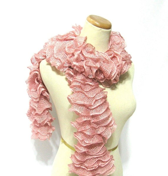 Hand Knit Ruffled Scarf - Rose Pink