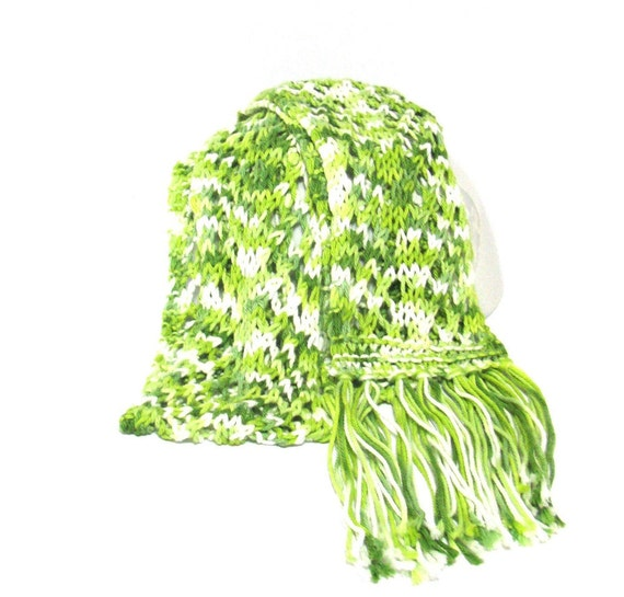 Key Lime Hand Knit Scarf - Cotton - Great for Spring