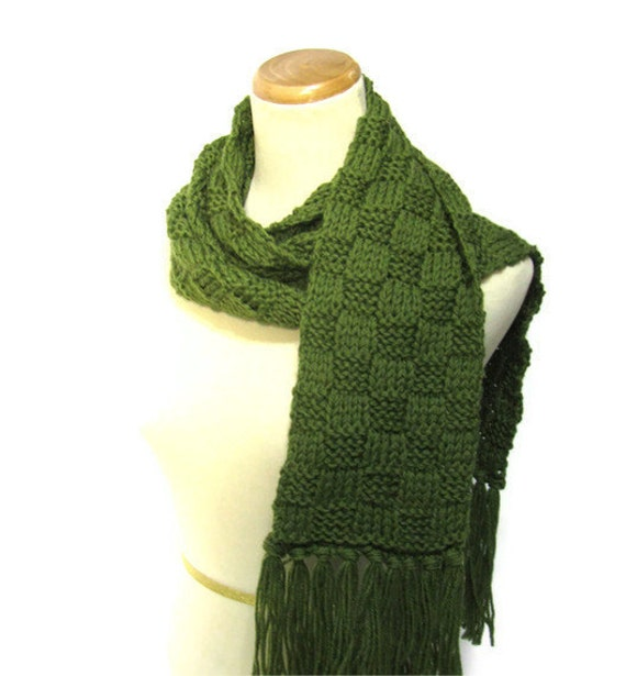 Olive Green Knit Scarf Unisex
