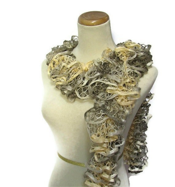 Hand Knit Ruffed Scarf - Buttercup Yellow Taupe
