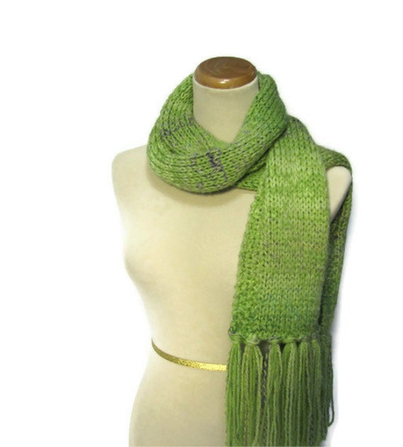 Pistachio Marble Hand Knit Scarf Green