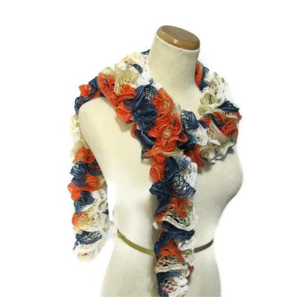 Hand Knit Ruffled Scarf - Orange Blue White