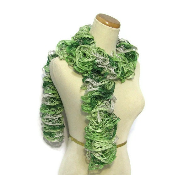Holiday Hand Knit Scarf - Ruffled - Variegated Green