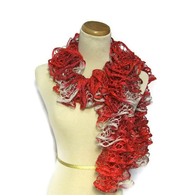 Sale Holiday Hand Knit Ruffled Scarf -  Variegated Red Gray