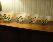 Fabulous Vintage Fire King Tulip Mixing Bowl Set