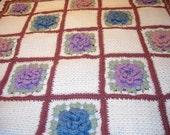 Vintage Floral Crocheted Afghan Granny Square Roses