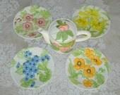 Vintage Teapot  Salad Plates  Shafford China  Handpainted  Tableware