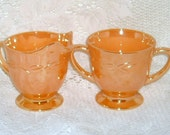 Fire King Peach Luster Laurel Cream Sugar Creamer Bowl Set