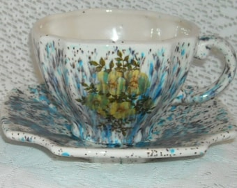 Vintage Cup and Saucer Artistan Painted