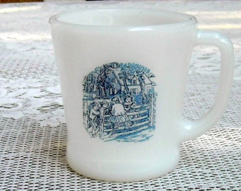 Vintage Fire King Mug Milk Glass Coffee Tea