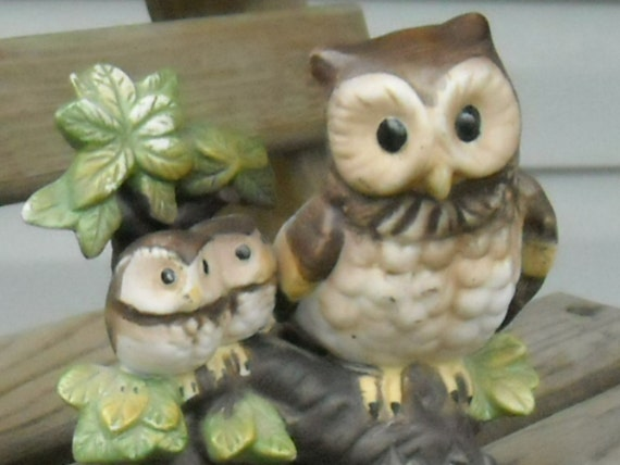 Vintage Hoot Owls Mama Baby Owls Porcelain