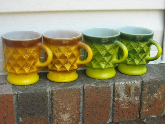 RESERVED Fire King Coffee Mugs Tea Kimberly Pattern Burnt Orange Avocado Green Gold