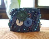 Fabric Wrist Cuff with Vintage Buttons