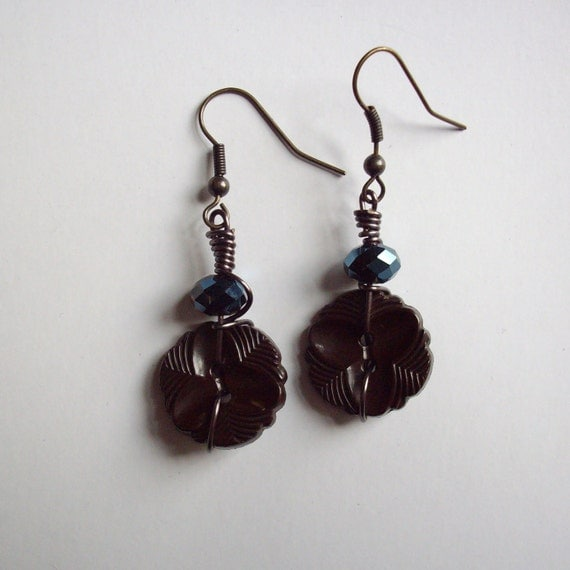 Wire Wrapped Vintage Button Earrings
