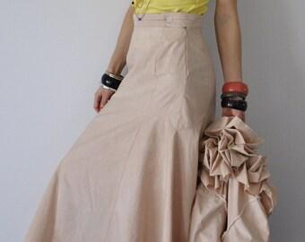 sale Hand Made Hand Dyed Maxi Skirt/ Long skirt/Cotton skirt/Floor length skirt/Bohemian skirt/ Shabby Chic/ Size small