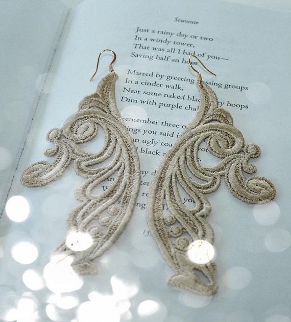 Bohemian Cream Brulee long earrings/ Lace earrings/ Beige