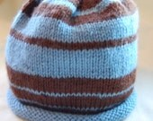Toddler Pi Hat in Chocolate Brown and Blue