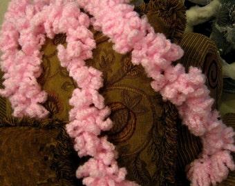 Pink Clouds Crochet Boa Neck Scarf Neckwarmer Handmade Muffler