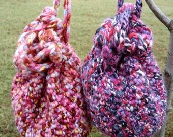 Crochet Wool Drawstring Wristlet Handbag Purse - PINK