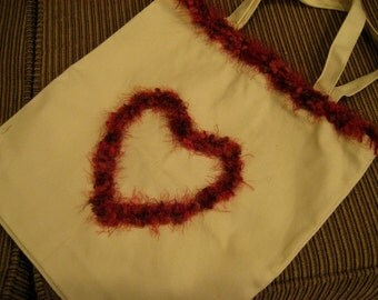 Purse Tote Bag with Fun Fur Hearts and Crochet Edge