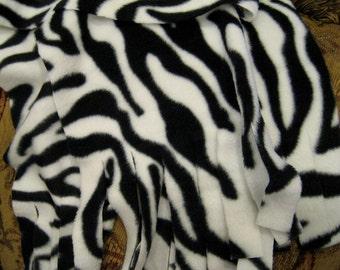 Scarf Muffler - Black and White Zebra Stripe Fleece Scarf Muffler Neckwarmer