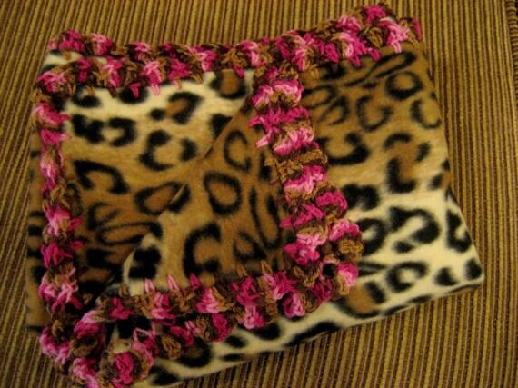 Leopard Print Fleece Baby Girl Blanket With Pink & Brown Variegated Shell Crochet Edge