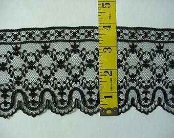 Flat Lace 4 inches Wide Black Raschel Lace Scalloped on One Side 10 Yards NEW