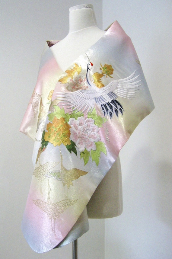 Bridal KIMONO Shawl aurora pale pink blue cream size free made to order