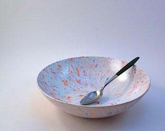 4 White Speckled Plastic Vintage Salad Bowls ST. PAUL PLASTICS
