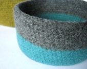 felted bowl two bands of turquoise and grey
