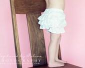 White Kona Cotton Ruffle Bloomers Shorts / Sizes 6m, 9m, 12m, 18m, 2t, 3t, 4t  and 5t ... LittleBoats