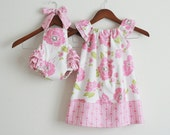 TWO piece Matching Sibling SET - Big sister Flutter Dress and Little sister Sunsuit / Dolce