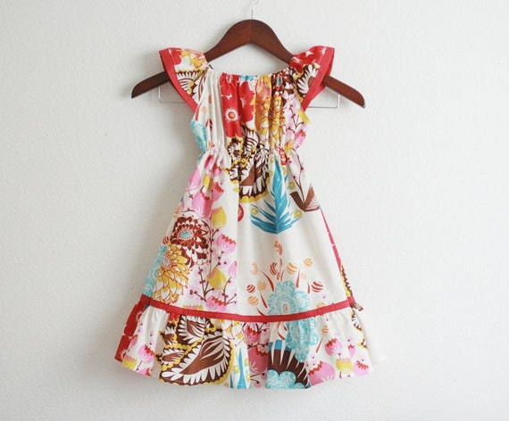 LouLouThi Flutter sleeves Peasant Dress / Sizes 6m 12m 18m 2T 3T 4T and 5T