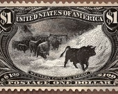 Western Cattle in Storm, US Postage Stamp, Artwork,  Etching