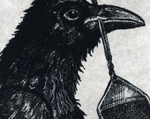 Sale- Raven artwork , Raven, crow, , etching, 5 inch by 8 inch. 2010