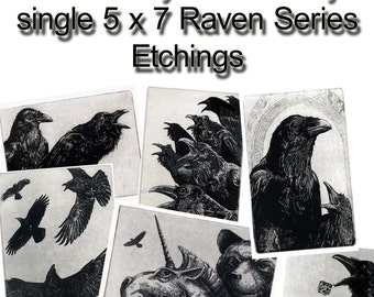 Raven artwork , Raven, crow, Raven collection. Select any three of my SINGLE 5 inch x 7 inch Raven Series. 20% OFF  PRICE