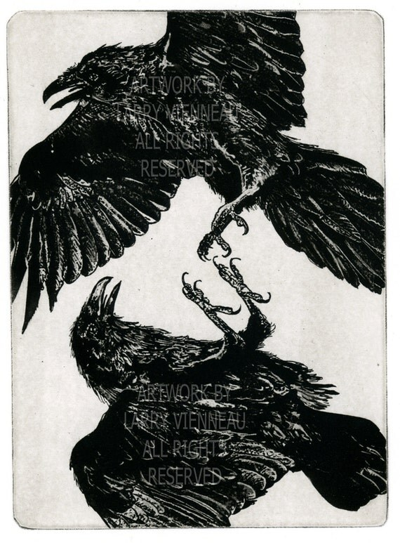 Raven artwork , Raven, crow,  etching 5 inch x 7 inch 2011