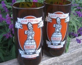 Rogue Dead Guy Ale Beer Bottle Tall Drinking Glasses - Upcycled - Set of 2