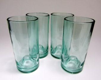 Four Repurposed Aqua Glass Wine Bottle Tumblers