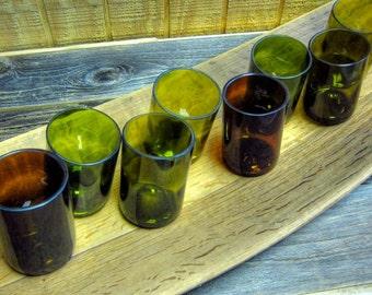 """Set of 8 Wine Bottle Rocks Glasses with  Large 28"""" Oak Barrel Stave Serving Board - Upcycled"""
