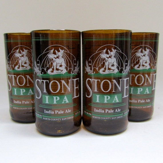 Four Small Juice Glasses Created from STONE IPA Recycled Beer Bottles