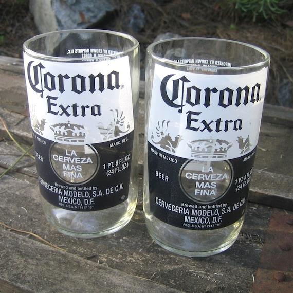Two Upcycled 24oz Corona Extra Beer Bottle Small Drinking Glasses Dish Washer Safe