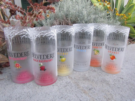 Six Recycled Belvedere Glass Bottle Tumblers -- Rare Collection