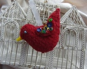 Pretty Little Ruby the Felted Bird Ornament