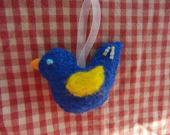 Billy Blue Bird the Hand Felted Ornament