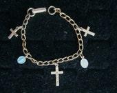 CATHOLIC CHARM BRACELET crosses Mother Mary crucifix