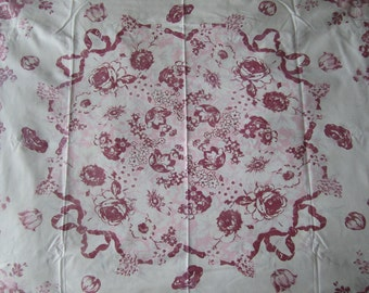 vintage TABLECLOTH 51x45 Maroon Pink with faded Green or Blue 1930-1940s