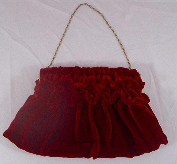 RED Velvet Clutch PURSE  stunning vintage